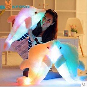 BOOKFONG 45cm bunten LED-Licht ow Kissen Netter Dolphin füllte Plüsch-Puppe-Spielzeug-Mädchen-Geburtstags-Geschenk
