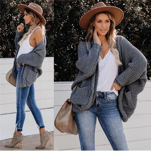 Needle Sweater Coat Designer New Female Long Sleeve Solid Color Tops Clothing Women Casual Loose Cardigan Sweater Autumn Fashion Trend Thick