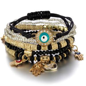 Malvado ojo encantos pulseras diseño de moda fatima hamsa mano pulsera brazaletes para mujeres multicapa trenzado hechos a mano perlas joyas pulseras