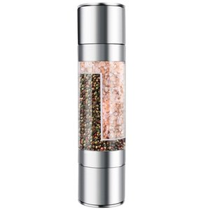 Stainless Steel Salt And Pepper Grinder 2 In 1 Manual Salt & Pepper Mill Shakers Refillable With Dual Adjustable Coarseness And