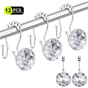 Shower Curtain Hooks 12 Pcs Double Glide Shower Curtain Rings Stainless Steel Rustproof Hook Ring with Acrylic Crystal Rhinestones OWD205