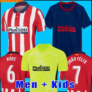 20 21 Atletico Soccer Jersey 2020 2021 João Félix M. Llorente Koke Saul Godin Diego Costa Camiseta Camicia da calcio Uniformi Uomo + Kid Kit