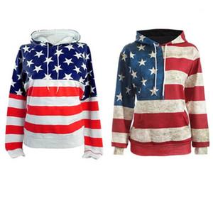Manga del suéter con capucha las señoras del diseñador floja ocasional con capucha de la bandera americana mujeres camiseta de moda 3D Digital Printing largo