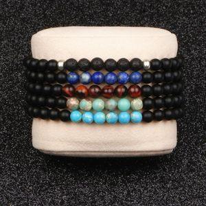Charm Bracelets High Quality Natural Stone Bracelet Top Lapis Lazuli Tiger Eye Lava Round Matte Beads For Men Women Couples Jewelry