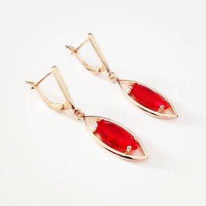 Orecchini 2020 Red cubico zircone orecchino di nozze 585 Oro Orecchini Bohemian Orecchini