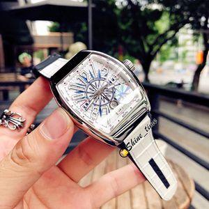 Nuovo Yachting Vanguard classico V45 SC DT Miyota automatico Mens Watch Bianco 3D cuoio della manopola della cassa di acciaio 316L Argento Cinturino Orologi Shine_time
