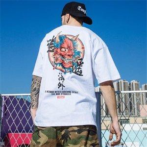 2019 Hip Hop Tişört Erkekler Hayalet Çinli Charater Streetwear İlkbahar Yaz Tişört Kısa Kollu 0923 Tees Tops Harajuku T Gömlek yazdır