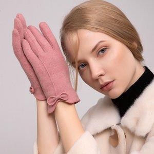 Зима Женский сенсорный экран Перчатки Женщины Теплый кашемира Полный Finger Кожа Лук Перчатки Шерсть Вязание Вышивка Driving E38