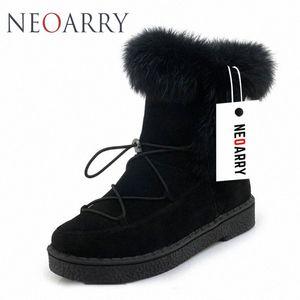 Neoarry invierno botas para mujer de la nieve botas de encaje de Calentamiento piel de la manera del tobillo de los botines de tacón bajo Rusia Calzado de las señoras del tamaño grande LT70 oxgl #