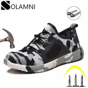 Camo Steel Toe Mens Work Shoes Safety Anti Smashing Light Outdoor Work Boots Breathable Mesh Sneakers Unisex Construction Shoes xgS4#