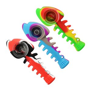 Hot selling Food grade color silicone glass fishbone pipe removable silicone pipes smoking accessories