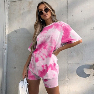Tie Dye Print Basic Tshirt Shorts Two Piece Set Women Casual Outfits lounge Wear Jogging Femme Biker Shorts Tees Summ LHQd#