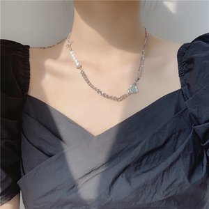 AOMU 2020 Korea Summer Metal Chain Stitching Pearl Necklace Cross Crystal Design Clavicle Chain Set for Women Jewelry Gifts