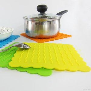 Motivo a onde Tovaglietta scrivania Protezione Stile Quadrato Coasters silicone resistente all'usura Tabella Bowl Non Slip Pad disegno popolare 2 6zya ZZ