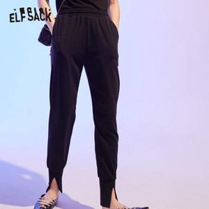 ELFSACK Schwarz Minimalist beiläufige Frauen dünne Hosen 2020 Herbst ELF reine Weinlese-koreanischen Damen Tagesarbeitsgrund Bottom