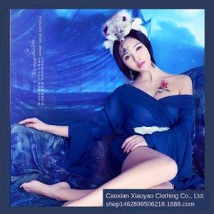 Y4Gg6 Dynastie Rock alte Prinzessin Fan elegantes langes Kleid Studiofotografie Foto Fuchs Fee Lange Tang alten Tailing Kostüm Kostüm