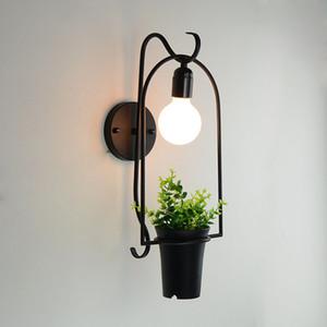 Nordic planta criativo lâmpada flor luz moderno quarto muro de ferro lâmpada de parede de cabeceira varanda corredor loja de flores