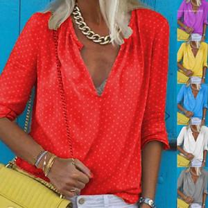 Women Fashion Casual Female Clothing Womens 2020 Luxury Designer Shirts Sexy Long Sleeve V Neck Tees Tops