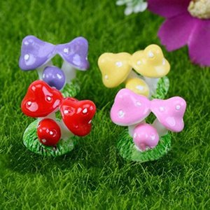 Red Mini Mushroom DIY Dollhouse Resin Crafts Fairy Garden Miniatures Garden Ornament Decoration Terrarium Figurines Decor