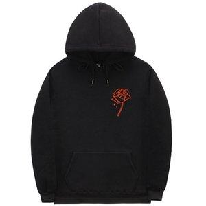 Осень Новый стиль японской эстетики Rose Толстовки Мужчины Harajuku Hoody вскользь Теплый флис Толстовка Мужской HipHop Фитнес Streetwear