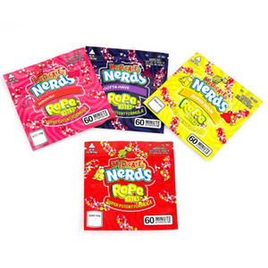 Nerds Rope Bites Bag Newest Empty Square Gummy Medicated Mylar Bag Packaging Pouch for Dry Herb Tobacco Flower Storage Retail