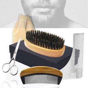 I nuovi uomini spazzola Barba pettine Set fornitore all'ingrosso - Cinghiale pennello Forbici Pocket Combs Shaping pettine 5in1 Dropshipping