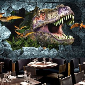 Diantu personalizzato Photo Wall Paper 3D Dinosaurs pittura murale Carta da parati murale Camera / kid'sroom / KTV / Bar fondale murale