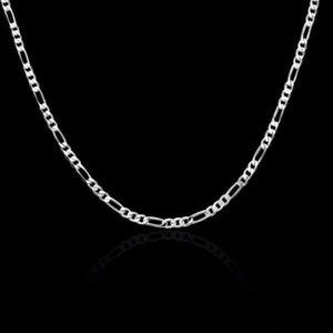 8 Sizes Chain Real Jewelry Silver Womens 4mm Kolye Necklace Mens Sterling Available Kids 40 45 50 60 75cm 925 Collares1 Figaro Umqdl