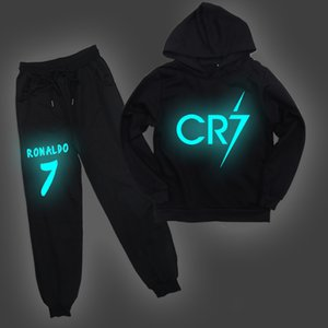 CR7 Ronaldo Kids Hoodies Pants 2pcs Set Tracksuit Children Unsex Casual Luminous Hooded Sweatshirt And Harem Pants For 2-14Y X0923