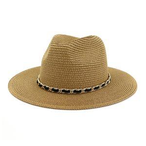 2020 Panama Hat Women Straw Fedora Female Sun Hat Women Summer Beach Sun Visor Cap Chapeau Cool Jazz Trilby Cap