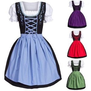 Costume Designer Beer Festival Short Sleeve Patchwork Color Sexy Ladies Dresses Theme Clothes Halloween Womens Cosplay