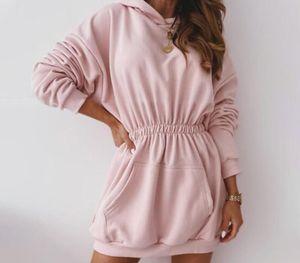 Autumn Fleece Female Sweatshirts Dress Warm Women's Hoodies Elastic Waist Hooded Long Sleeve 2020 New Casual Ladies Sweatshirt11