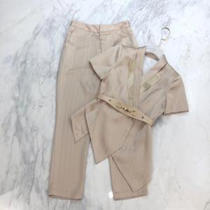 zFzSY женская одежда 2020 лето новый полосатый костюм нерегулярные костюм высокого класса брюки Nv Ku Чжуан маленькие ноги полосатые брюки