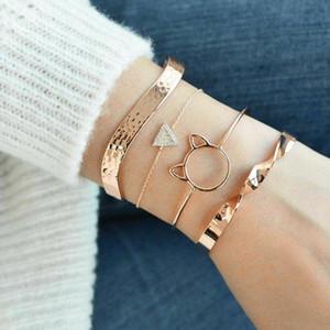 Regalo di compleanno braccialetti si è regolato ragazze Triangolo modo del braccialetto 4pcs / set Donne vuoto di cristallo Cat Open Type irregolare oro