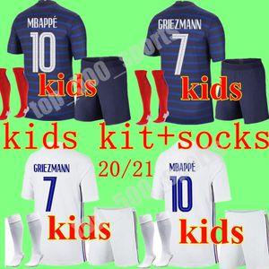2020 2021 kids kit France 2 star soccer jersey home away mbappe GIROUD GRIEZMANN KANTE 20 21 ZIDANE maillot de foot Men Kits