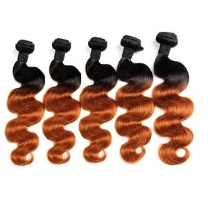 Оптовая бразильская Ombre человеческих волос Пучки Body Wave Straight 1кг 10шт Лот Хорошее качество Remy девственницы Ранг волос Черный Коричневый цвет