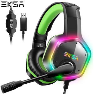 EKSA E1000 USB filaire Gaming Casque 7.1 Virtual Surround Professional Gaming Headset avec micro LED pour PC Vert Gris
