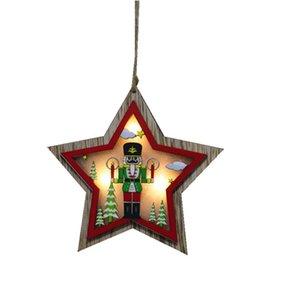 Natal iluminado ornamento de madeira oco glitter wooden pingente de árvore de árvore carro árvore estrela em forma de pingente com luz LED EWD1883