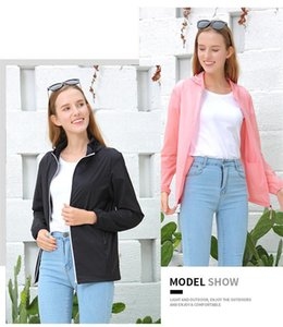 Zipper And Pocket Womens Jackets Necessary Fashion Couple Coats Summer Sun Protective Jackets Solid Color With