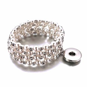 Luwellever 3 Row Shiny Rhinestone Elastic 156 Bangle Stretch Crystal 18mm Snap Button Bracelet Party Prom Wedding Bride Jewelry