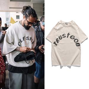 Domenica SERVIZIO del Kanye West T shirt vintage oversize stampato magliette Uomini Donne Hip Hip Graffiti a maniche corte Top Tee Streetwear 200925