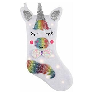 Unicorn Christmas Stocking with LED Light Cartoon Unicorn Sequins Stockings for Christmas Decoration Gift Candy Bag HHA1587