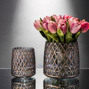 Creative modern Nordic Transparent glass vase geometric Flower arrangement accessories living room Retro Decorative ornaments