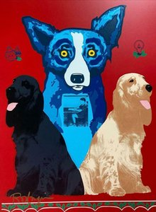"""George Rodrigue """"George's Sweet Inspiration"""" Blue Dog Home Decoration Oil Painting On Canvas Wall Art Canvas Pictures Wall Decor 200908"""