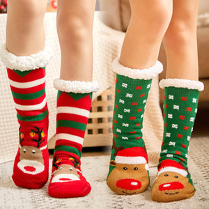 16 Renkler Kış Noel Örme Bayan Kalın Örme Sherpa Fleece Termal Bulanık Terlik Çorap Santa Geyik Baskılı Noel Çorap M2760 Çizgili
