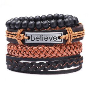2020 New Vintage 4pcs set Men Leather Bracelet Believe Beads Woven Wristband Bangles Fashion Jewelry Friend Gift