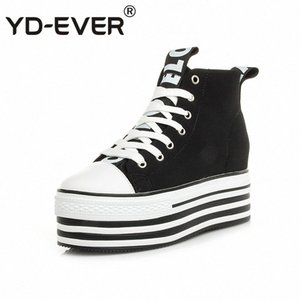 YD-EVER 9cm genuine leather women boots super high heel platform wedge canvas shoes height increasing lace up casual sneakers octF#