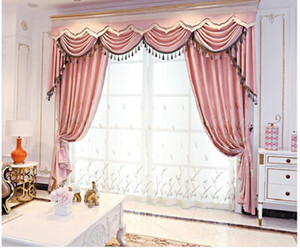 2020 hot sale Modern simple European Style Embroidered curtain cloth chenille hemp shading living room bedroom curtain finished product 009