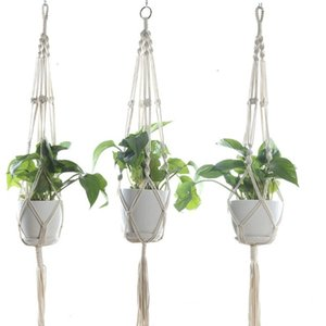 Plant Hangers Macrame Flower Pots Holder Rope Braided Hanging Planter Basket Home Garden Decor 8 Designs Optional DHC295