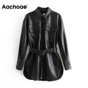 Aachoae PU-Leder-Mantel-Frauen-Frühlings-Einreiher Langarm-Fest Mantel mit Gürtel Weinlese-Taschen Buttons Outwear Damen Tops 200921